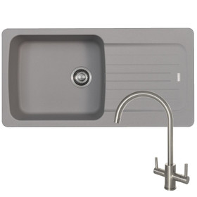 Franke Aveta 1.0 Bowl Stone Grey Tectonite Kitchen Sink And Reginox Genesis Tap