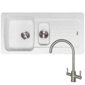 Franke Aveta 1.5 Bowl Ice White Tectonite Kitchen Sink And Reginox Genesis Tap