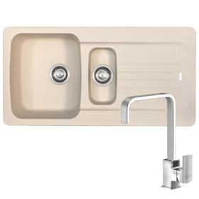 Franke Aveta 1.5 Bowl Cream Tectonite Kitchen Sink And Reginox Astoria Tap