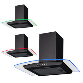 SIA CPLE70BL 70cm Black 3 Colour LED Edge Curved Glass Cooker Hood Extractor Fan