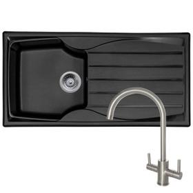 Astracast Sierra 1 Bowl Black Kitchen Sink & Reginox Genesis Swan Neck Steel Tap