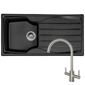 Astracast Sierra 1 Bowl Black Kitchen Sink & Reginox Genesis Swan Neck Steel Tap