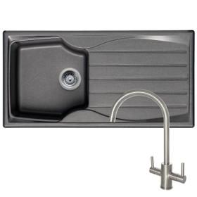 Astracast Sierra 1 Bowl Graphite Grey Kitchen Sink And Reginox Genesis Steel Tap
