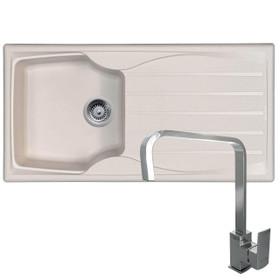 Astracast Sierra 1 Bowl Cream Kitchen Sink And Reginox Astoria U-shape Mixer Tap