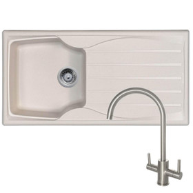 Astracast Sierra 1 Bowl Cream Kitchen Sink & Reginox Genesis Swan Neck Steel Tap