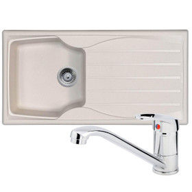 Astracast Sierra 1.0 Bowl Cream Composite Kitchen Sink & Zeno Chrome Mixer Tap