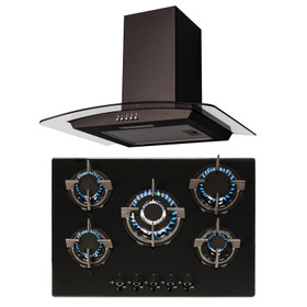 SIA 70cm Black Glass 5 Burner Gas Hob And Curved Glass Cooker Hood Extractor Fan