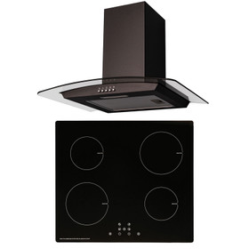 SIA 60cm Black 4 Zone ECO Plug In Touch Control Induction Hob & Curved Hood Fan