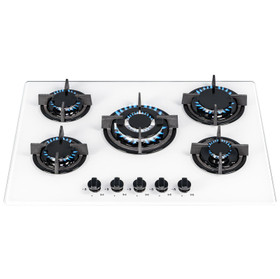 SIA GHG703WH 70cm White 5 Burner Gas On Glass Hob With Cast Iron Pan Stands