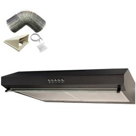 SIA VSR60BL 60cm Black Slim Visor Cooker Hood Kitchen Fan And 3m Ducting Kit