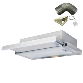 SIA TSH60SS 60cm Stainless Steel Telescopic Integrated Cooker Hood & 3m Ducting