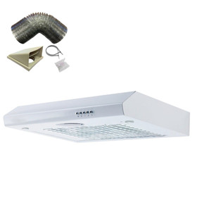 SIA STH60WH 60cm White Slimline Visor Cooker Hood Kitchen Fan And 3m Ducting Kit