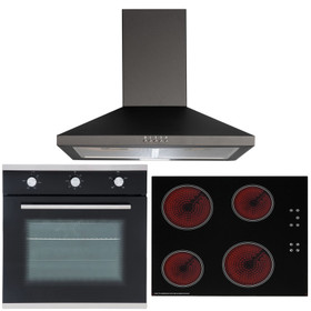 SIA 60cm Single True Fan Oven, 4 Zone Touch Control Ceramic Hob And Chimney Hood