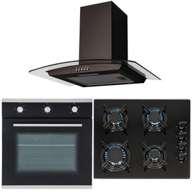 SIA 60cm Black Built In Electric Single Fan Oven, 4 Burner Gas Hob &Curved Hood