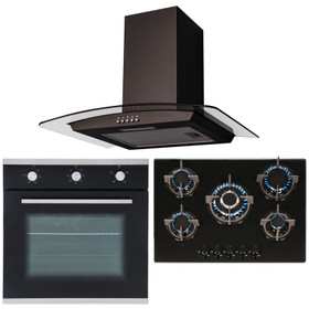 SIA Black True Fan Single Oven, 70cm 5 Burner Gas Hob And Curved Cooker Hood Fan