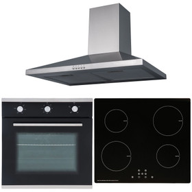 SIA 60cm Black Single Oven, 4 Zone Induction Hob And Stainless Steel Cooker Hood