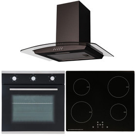 SIA 60cm Black Single Oven, 4 Zone ECO Touch Control Induction Hob & Curved Hood