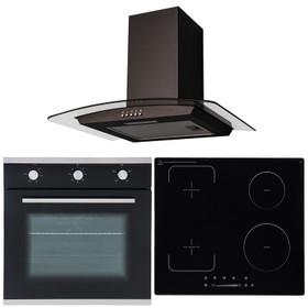 SIA 60cm Black Single Oven, 4 Zone Flexi-Bridge Induction Hob & Curved Hood Fan