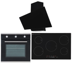 SIA 60cm Single Electric Oven, 90cm 5 Zone Induction Hob And Angled Glass Hood