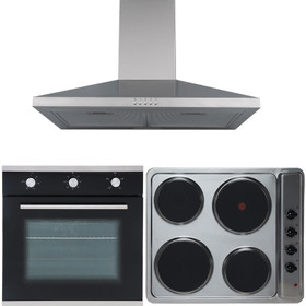 SIA 60cm Single Electric Oven, Stainless Steel 4 Zone Plate Hob & Chimney Hood