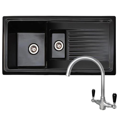Reginox RL401CB 1.5 Bowl Black Reversible Ceramic Kitchen Sink & Traditional Tap
