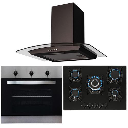 SIA 60cm Stainless Steel Fan Oven, 70cm Black 5 Burner Gas Hob & Curved Hood Fan