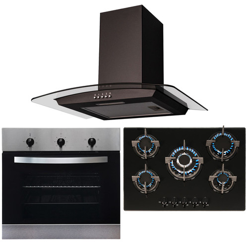 SIA Stainless Steel Single Oven, 70cm Black 5 Burner Gas Hob And Curved Hood Fan