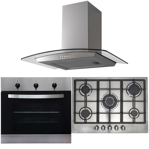 SIA 60cm Stainless Steel Fan Oven, 70cm 5 Burner Gas Hob And Curved Cooker Hood