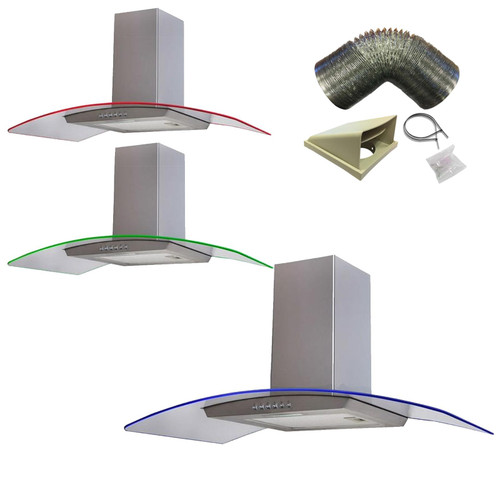 SIA 90cm Stainless Steel 3 Colour LED Edge Curved Cooker Hood And 3m Ducting Kit