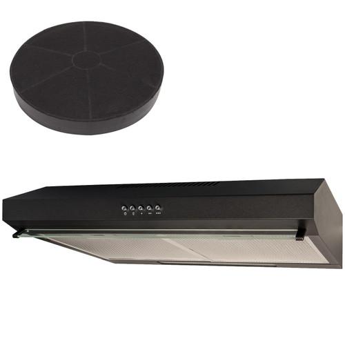 SIA STH50BL 50cm Black Slimline Visor Cooker Hood Kitchen Extractor And Filter