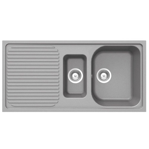 Schock Lithos D150 1.5 Bowl Reversible Croma Grey Granite Kitchen Sink And Waste