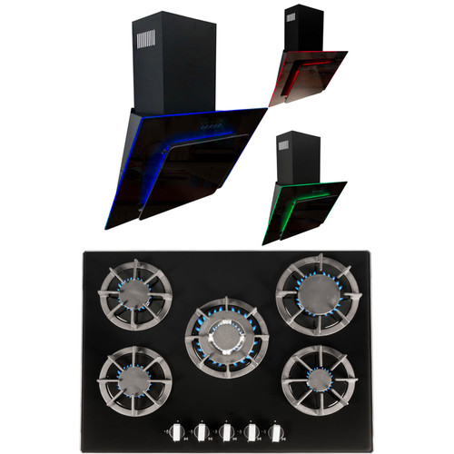SIA 70cm Black 5 Burner Gas On Glass Hob &Multi Colour LED Angled Cooker Hood