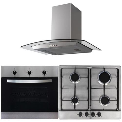 SIA 60cm Single Electric Fan Oven, 4 Burner Gas Hob &Curved Glass Cooker Hood