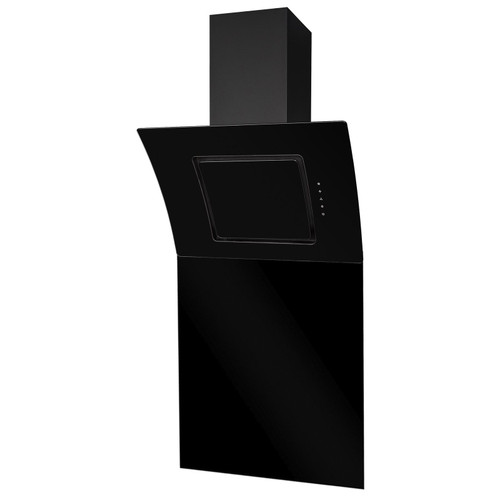 SIA 60cm Black Touch Control Angled Curved Glass Cooker Hood And 60cm Splashback