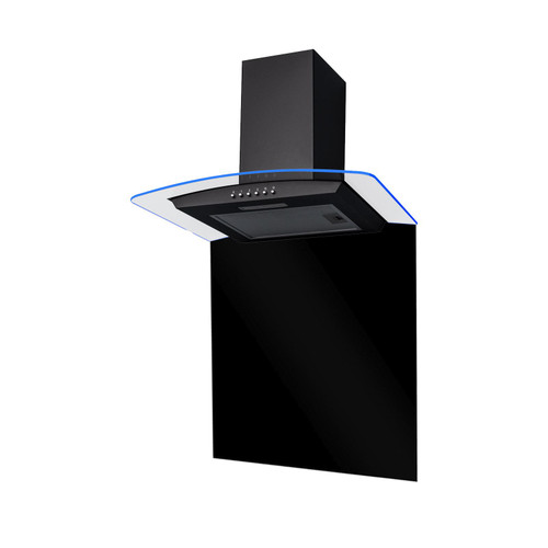 SIA CPLE60BL 60cm Edge Lit Curved Glass Black Cooker Hood And Glass Splashback