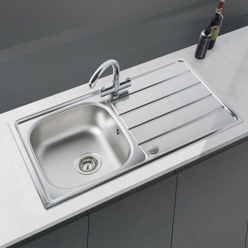 SIA 1.0 Bowl Reversible Stainless Steel Kitchen Sink And Waste Kit W860 x D500mm
