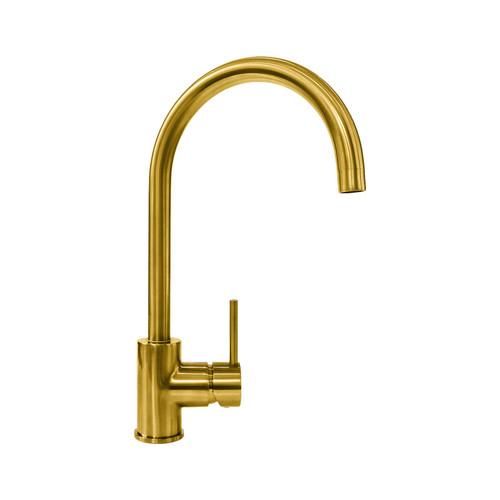 Reginox Clara Gold Single Lever Swan Neck Monobloc Kitchen Sink Mixer Tap