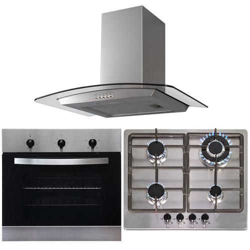 SIA 60cm Stainless Steel Single True Fan Oven,4 Burner Hob  & Chimney Cooker Hood