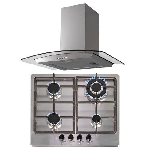 SIA 60cm Stainless Steel 4 Burner Gas Hob  & Curved Glass Chimney Cooker Hood Fan