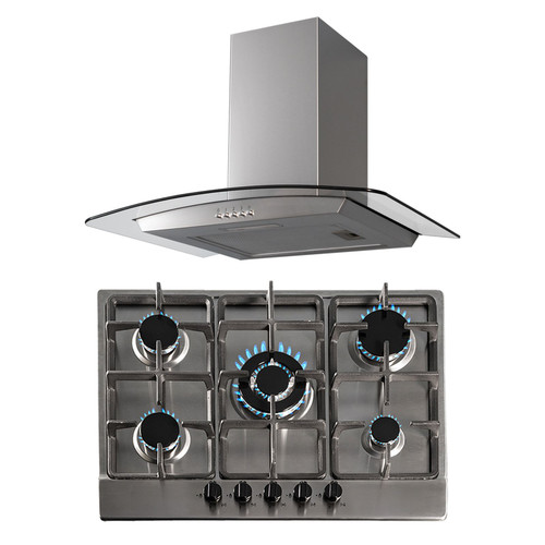 SIA 70cm Stainless Steel 5 Burner Gas Hob And Curved Glass Cooker Hood Extractor