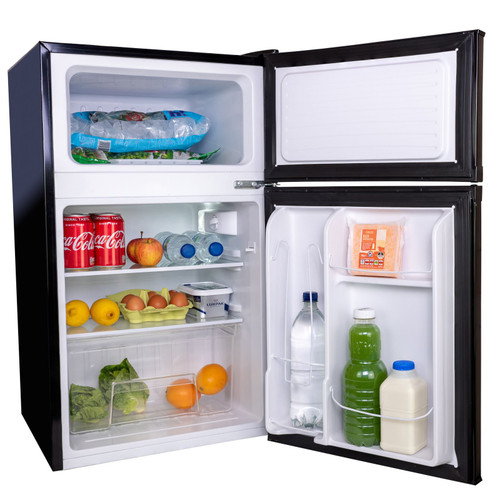 SIA UFF01BL 88L Black Freestanding Under Counter 2 Door Fridge Freezer A+ Energy
