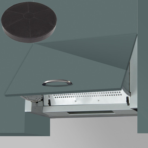 SIA INT60SS 60cm Silver Integrated Built In Kitchen Cooker Hood &Carbon Filter