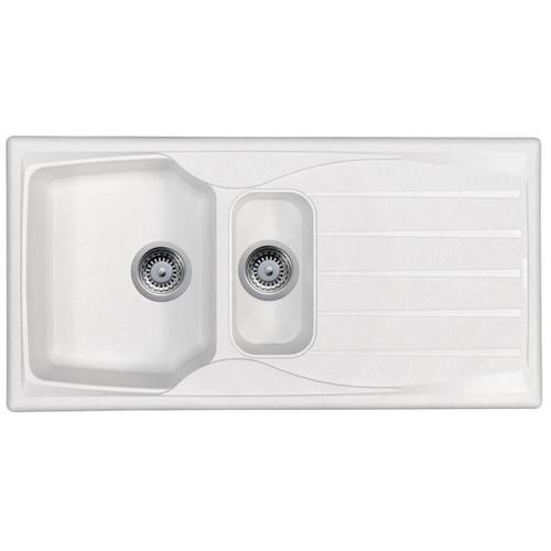 Astracast Sierra 1.5 Bowl Reversible White Kitchen Sink With Basket Waste Kit