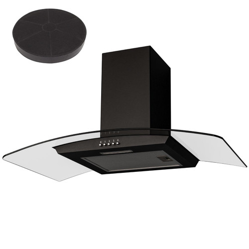 SIA CGH90BL 90cm Black Curved Glass Chimney Cooker Hood Extractor Fan And Filter