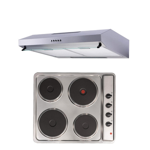 SIA 60cm Stainless Steel 4 Zone Solid Plate Electric Hob & Visor Cooker Hood Fan