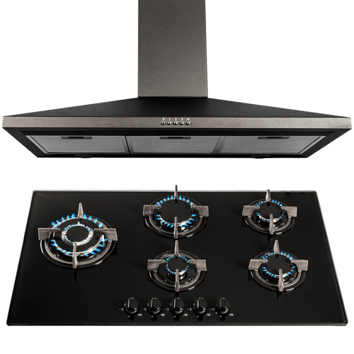 SIA Black 90cm 5 Burner Gas On Glass Hob And Chimney Cooker Hood Extractor Fan