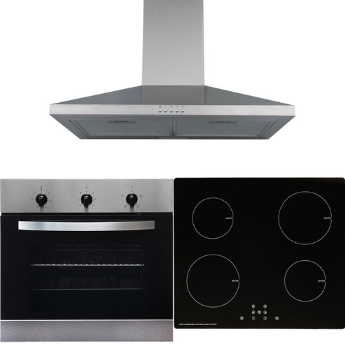 SIA 60cm Stainless Steel Single Oven, 4 Zone Induction Hob & Chimney Cooker Hood