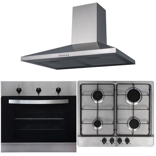 SIA 60cm Electric Stainless Steel True Fan Oven, 4 Burner Gas Hob & Cooker Hood
