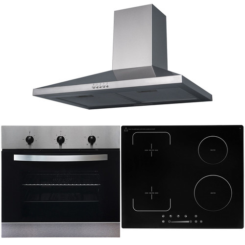 SIA 60cm Stainless Steel Single Oven, Flexi-Bridge Induction Hob & Cooker Hood