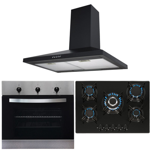 SIA Stainless Steel Single True Fan Oven, 5 Burner Gas Hob & Chimney Extractor